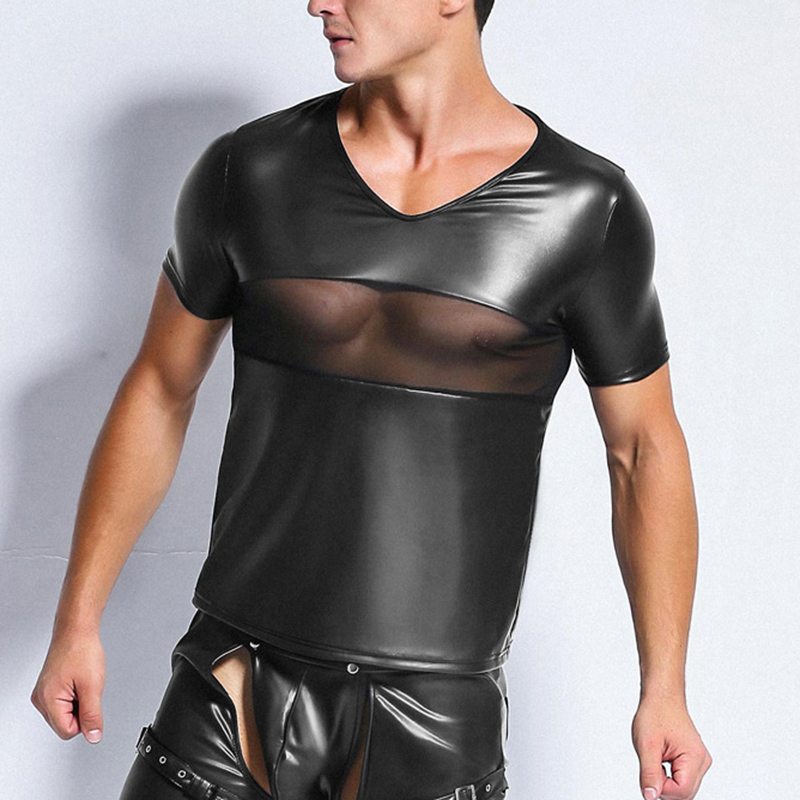 Wetlook Mens T Shirt Patent Leather Tshirts Sexy Men Fashion Tees Tight Shirts Mesh Patchwork Funny Undershirts Gay Fitness Tops