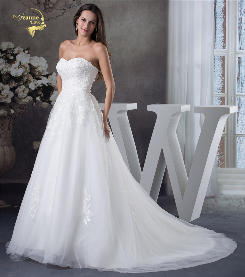 Jeanne Love Soft Tulle Sweetheart Wedding Dresses Perfect 2018 New Applique Lace Bridal Gown A Line Robe De Mariage JLOV75951 4