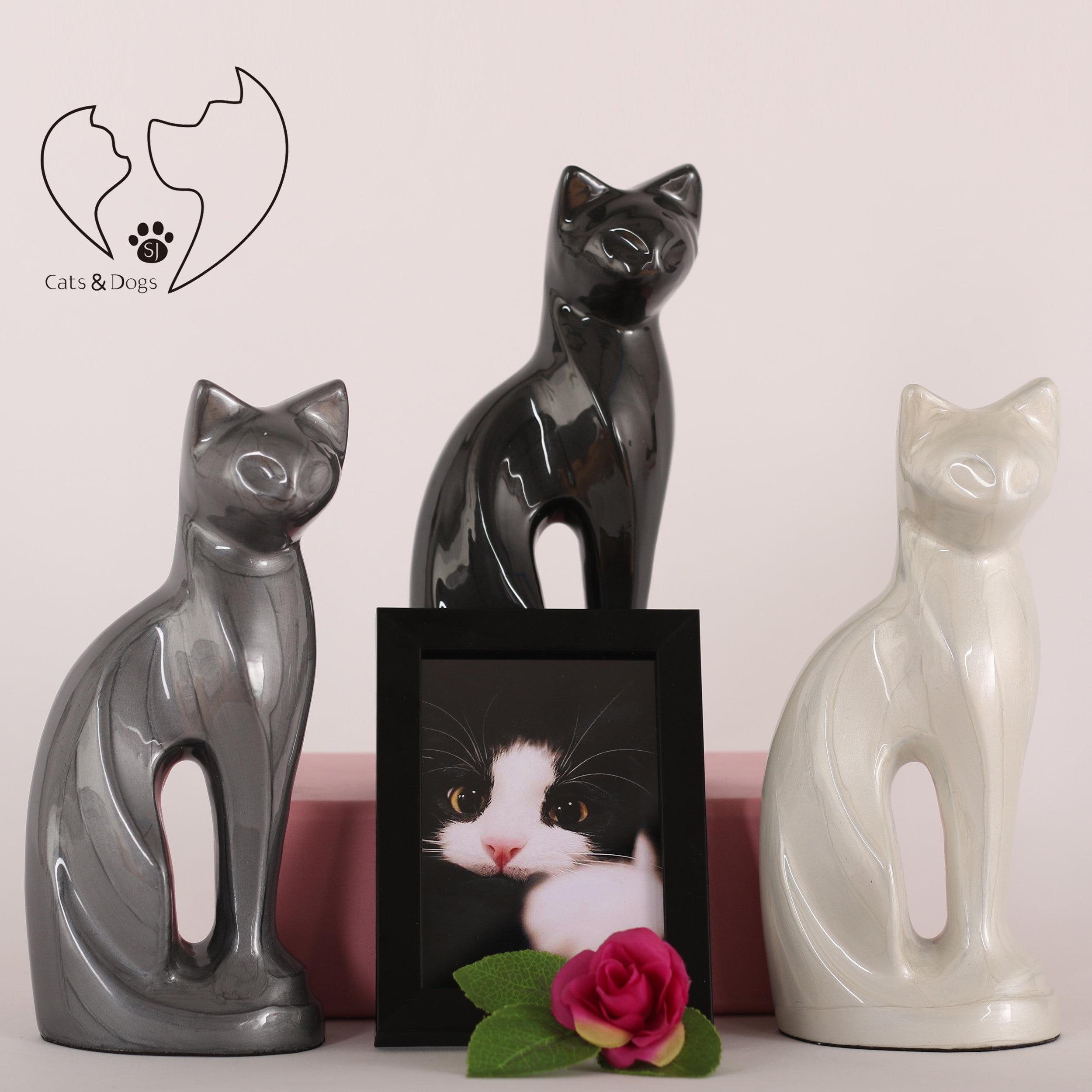 Perfect Memorials Ebony Contemporary Cat Brass Cremation Urn