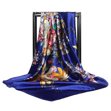 LEAYH New Fashion Satin Flower Printed Faux Silk Scarves 90*90cm Square Scarf Europe and America Retro Shawls