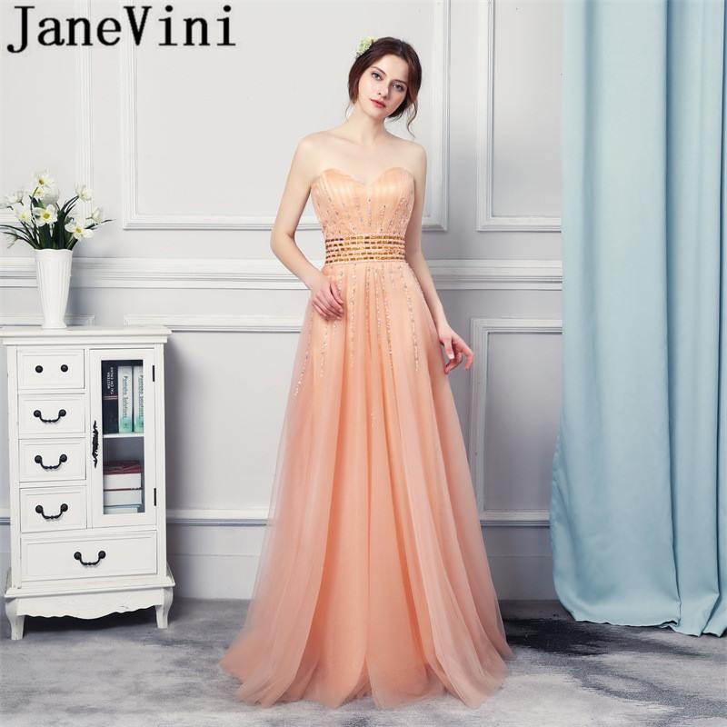 JaneVini Tulle Beaded Sequined Mother Of The Bride Dresses A Line Strapless Women Formal Evening Gowns Abendkleider Elegant 2018
