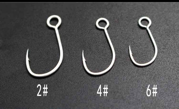 100Pcs Big Eye Single Hook Spoon Hook Size 4#,6#,8#,10#,12# For ChooseG6