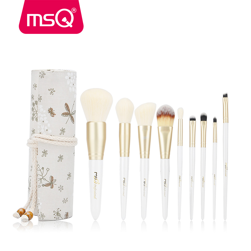 MSQ 9pcs Makeup Brushes Set Powder Blusher Foundation Brushes Set Eye Make Up Brush Soft Synthetic Hair With High End Resin Case msq 5pcs travel make up brushes high quality synthetic brushes for make up with fashion pink bag