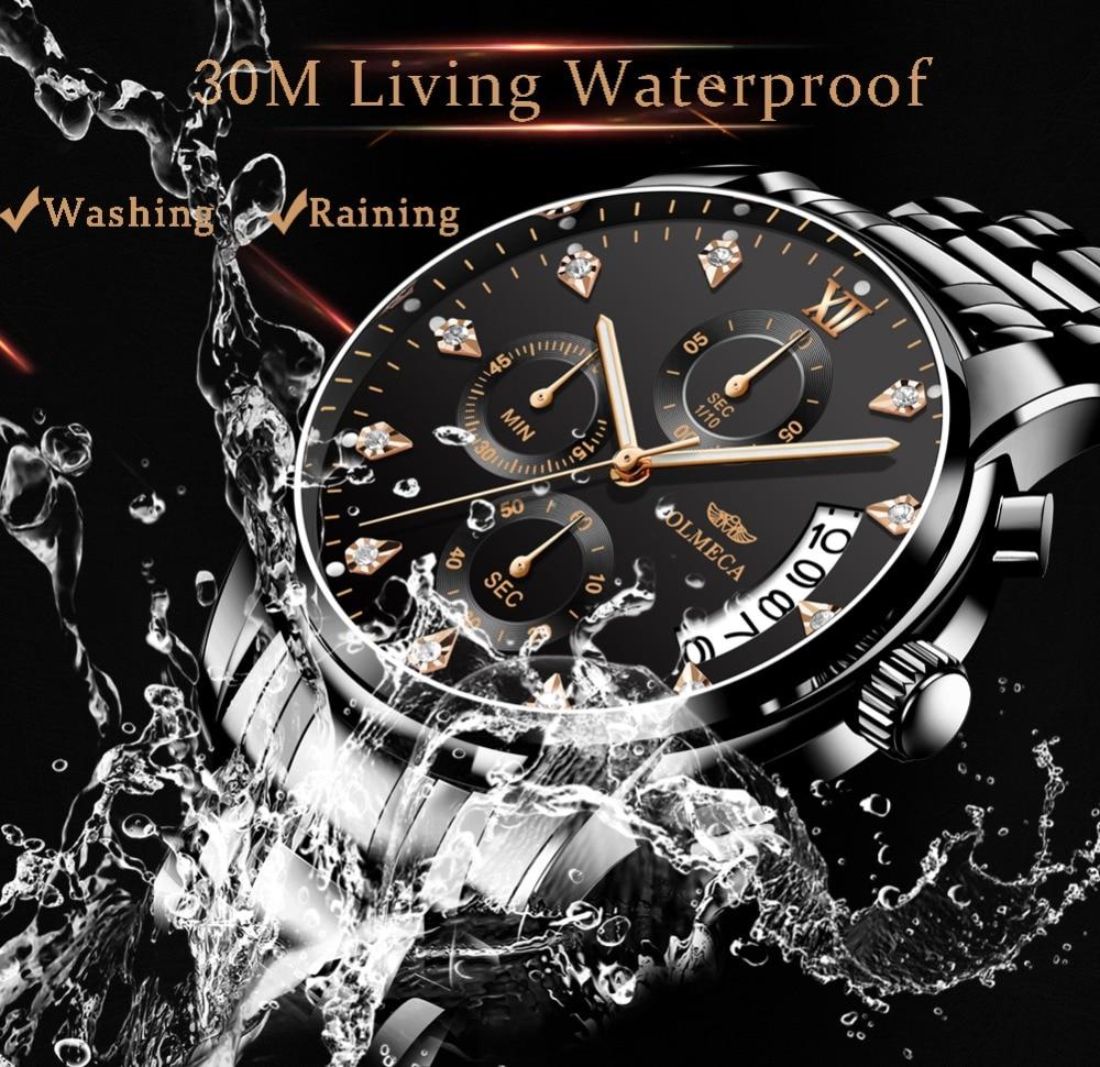 eef8026385d1 Relojes para Hombre superior de la marca de lujo de OLMECA Reloj Relogio  Masculino 3ATM impermeable relojes cronógrafo Reloj de pulsera Reloj de  Hombre para ...