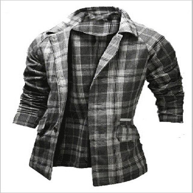 Abrigo de lana Masculino Nuevo 2016 de la Tela Escocesa Para Hombre Trajes de Cuello de Alta Calidad Masculina de Lana Cazadora de Un Solo Pecho Abrigo Para Hombre de La Raya chaqueta