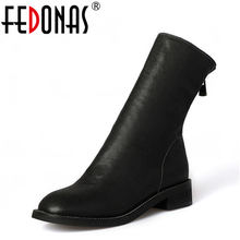 FEDONAS Women Genuine Leather Back Zipper Thick Heel Winter Warm Snow Boots Sexy Shoes Woman Motorcycle