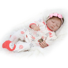 Handmade Realistic Silicone Alive Girl Doll Reborn Baby Sleeping 22inch Kids House Play Toys Collection