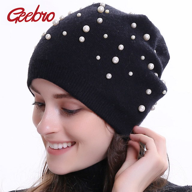 Geebro Winter Women s Beanie Hat Cashmere Knitted Pearl Slouchy Beanie for  Female Women Black Double Layer Balavaca Skullies Hat a5d372c1e9d