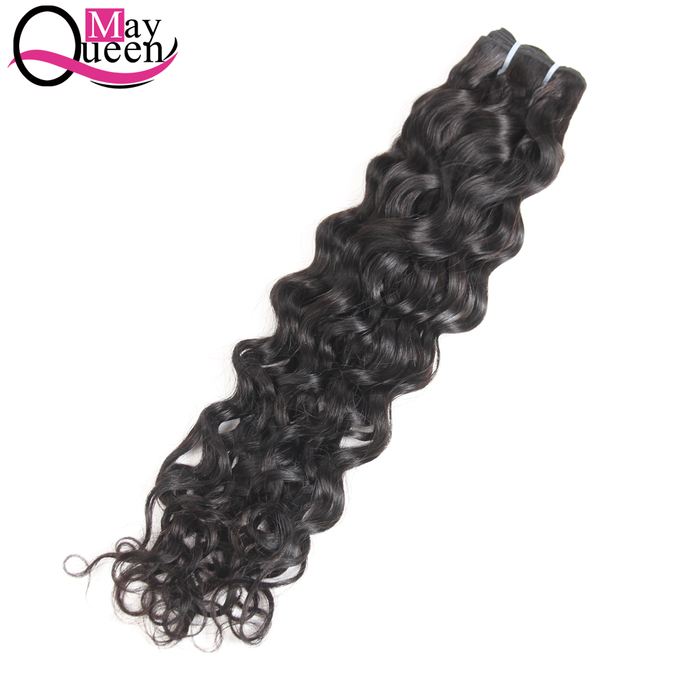 May Queen Human Hair Water Wave Indian Hair Weave Bundles 1Pc Natural Color Non Remy Hair Extensions Tangle Free