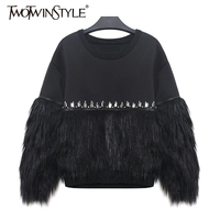 [TWOTWINSTYLE] 2017 Autumn Winter Women Hoodies Sweatshirt Thickened Fur Spliced With Rhinestone New Streetwear