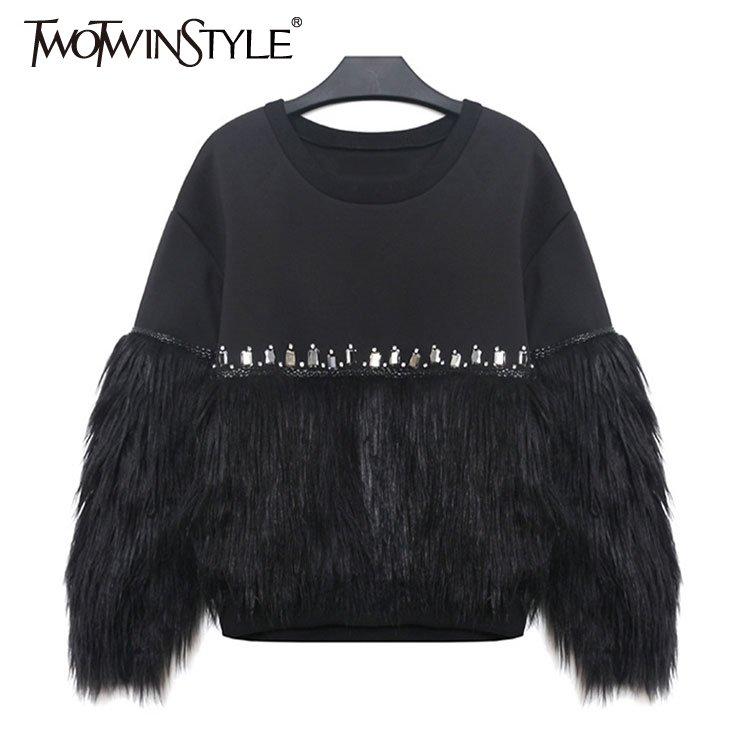 [TWOTWINSTYLE] 2019 Autumn Winter Women Hoodies Sweatshirt Thickened Fur Spliced With Rhinestone New Streetwear