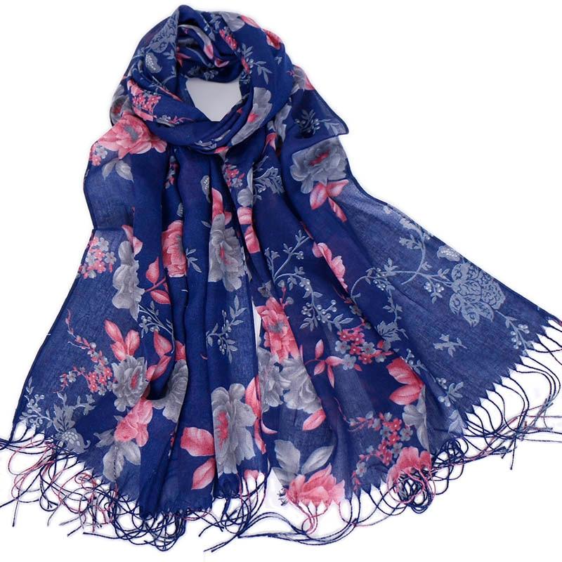 Women floral Tassels hijab scarf printe shawls muslim hijab turbans scarves viscose wraps fashion Islamic scarves