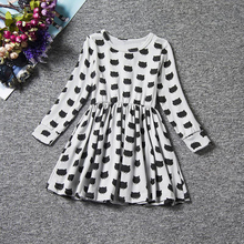 Autumn Long Sleeve Baby Girl Clothes Cartoon Kitten Black Cat Dress Girl Baby Clothing Children Costume Kids Casual School Wear