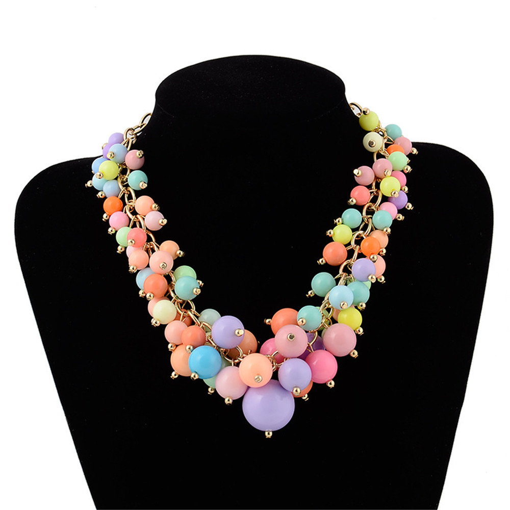 Candy Color Bohemia Beads Chain Statement Necklace Collier Choker Long Necklaces for Women