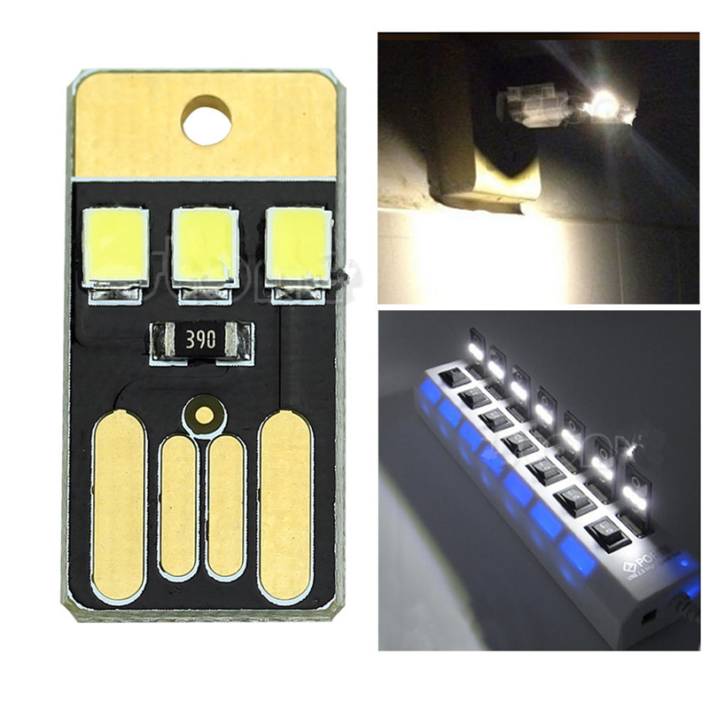 Pocket Card Lamp Bulb Led Keychain Mini LED Night Light Portable USB Power