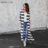 Jacket Womens Autumn Long Sleeve Tops Blouse Loose Coat Jackets Jumper Parka Bomber Stripe Cardigan Overcoat