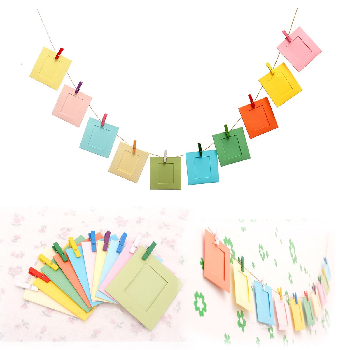 10pcs 3 Inch Paper Photo Frame Clip Hanging Rope Polaroid Picture Diy  Decorative Crafts Accessories Home