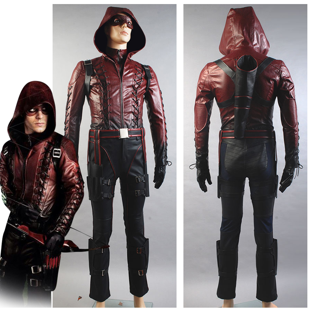 Green Arrow Season 3 Cosplay Costume Red Arrow Roy Harper Arsenal Cosplay Costume Red Leather For Men Halloween Carnival