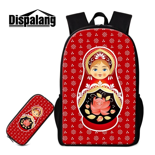 d6a6bd067763 US $26.16 26% OFF|Dropshipping Russian Doll Print Satchel Teen Girls School  Backpack Cute Mochilas Girly Rucksack Book Bag Children Pencil Case-in ...