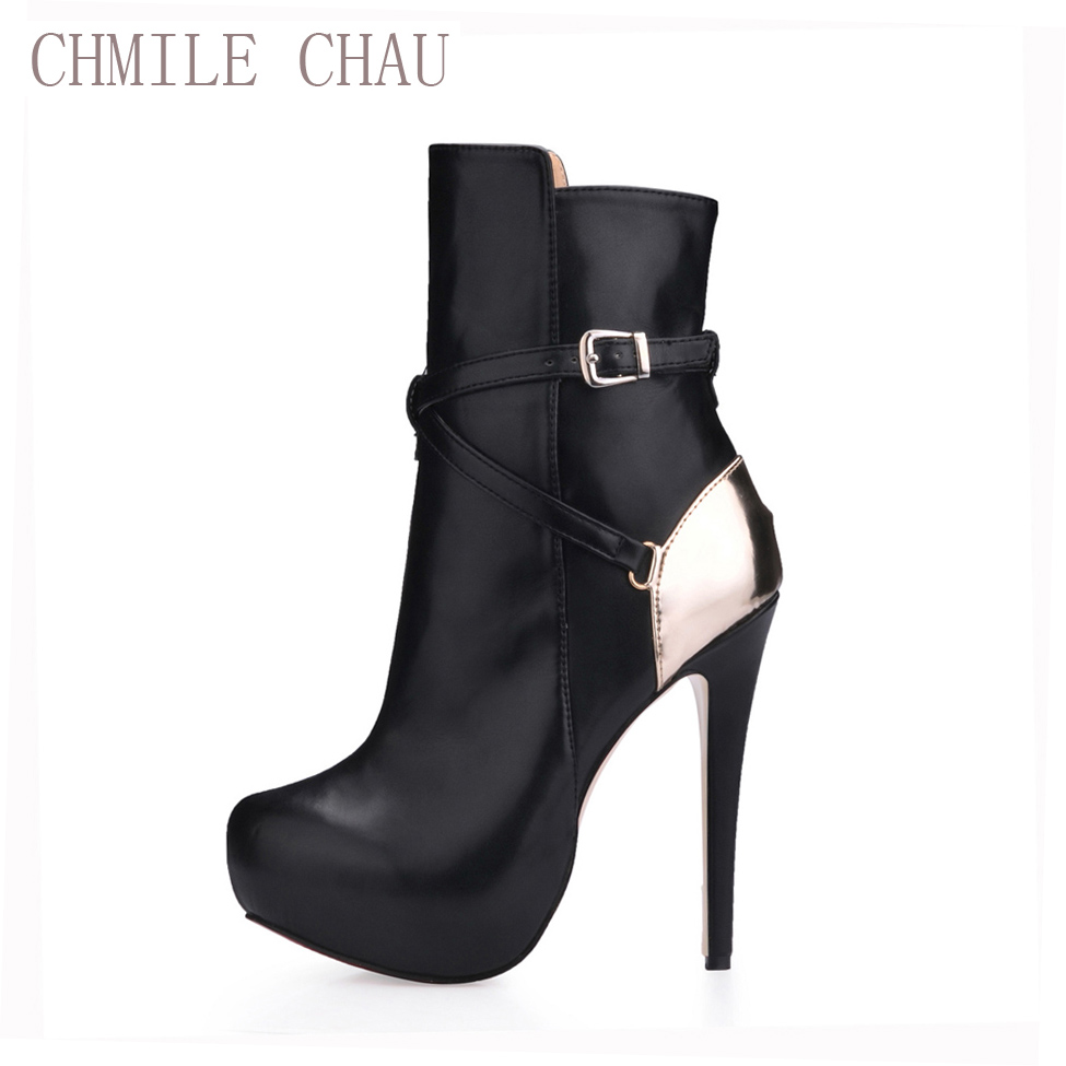 CHMILE CHAU Sexy Fashion Party Shoes Women Round Toe Stiletto High Heels Buckle Ladies Mid-Calf Boots Zapatos Mujer 3463BT-c1 double buckle cross straps mid calf boots