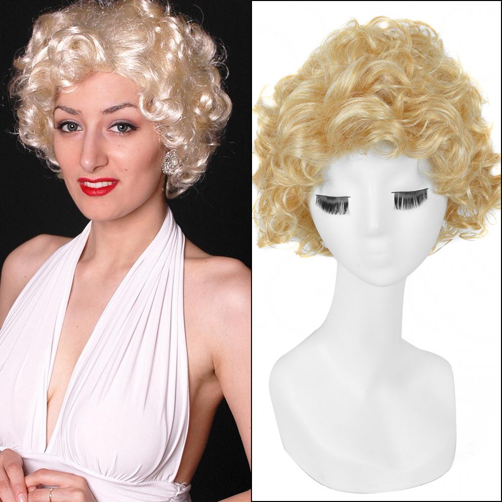 30cm Yellow Short Kinky Curly Haircuts Marilyn Monroe