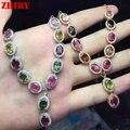 Женщины Натуральный Турмалин Камни Ожерелье Кулон Ювелирные Изделия Стерлингового Серебра 925 Кулон Ожерелье