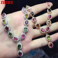 Women Natural Tourmaline Gems Necklace Pendant Jewelry 925 Sterling Silver Pendant Necklace