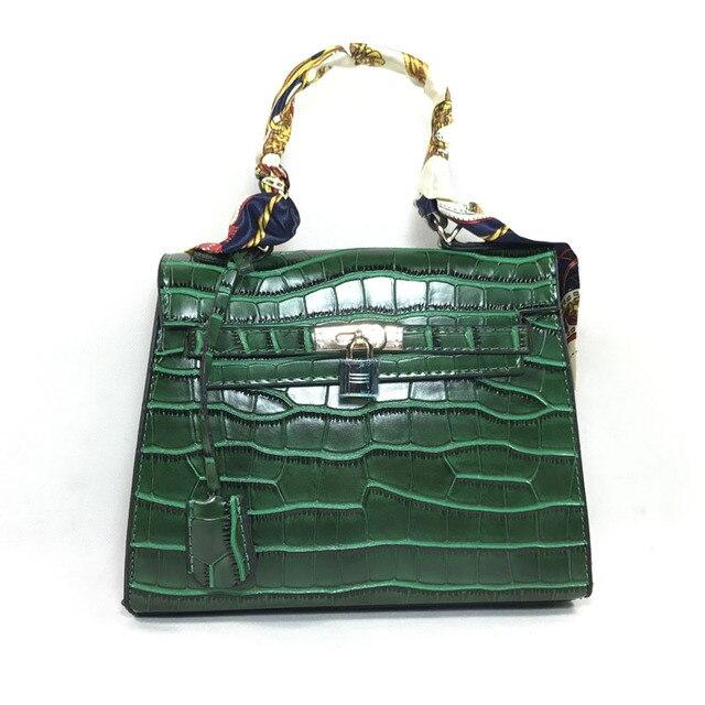 b9940577a30ed Frauen hand tasche krokodil muster pu leder schulter tasche hohe qualität  handtaschen mode kleines Schloss Geprägte