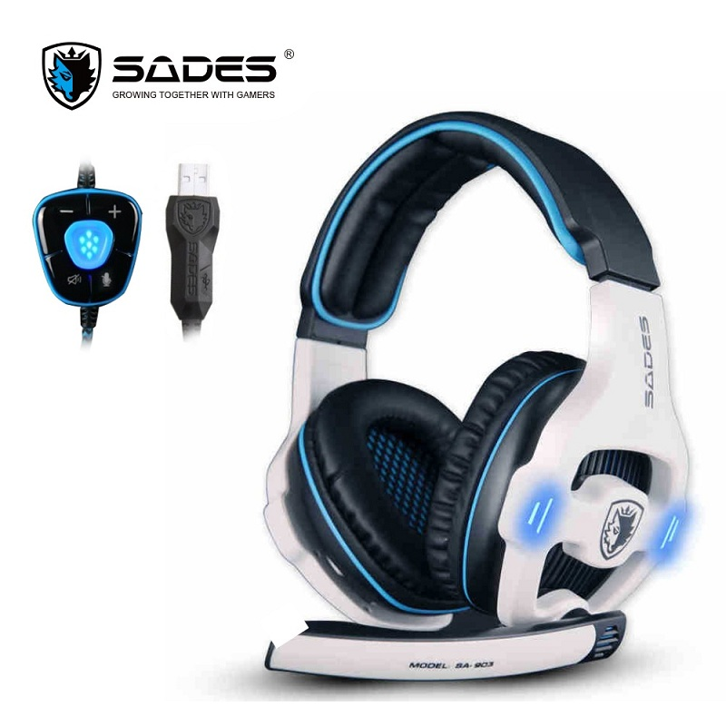 SADES SA903 7.1 Surround Sound USB PC Estéreo Gaming Headset com Luz de LED de Controle de Volume do Microfone