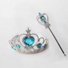 New Princess Crown Magic Stick Cosplay Hair Accessories For Girls Princess Crown Crystal Diamond Tiara Hoop Costume Headband(China)