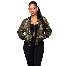Casual Coat Army Green Camouflage Jackets Vintage Women baseball Coat Zipper Up Cardigan Long Sleeve Jackets Coat 2017 Spring