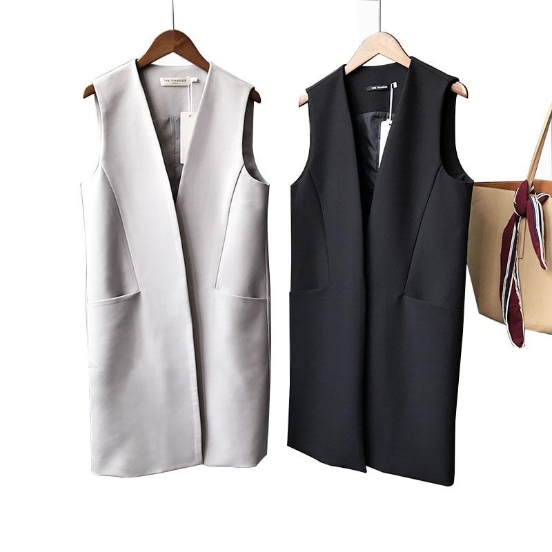 Casual Black Women's Vest Spring Elegant Long Coat Female Cardigan V-Neck Pocket Plus Size Waistcoat Ladies Sleeveless Jacket