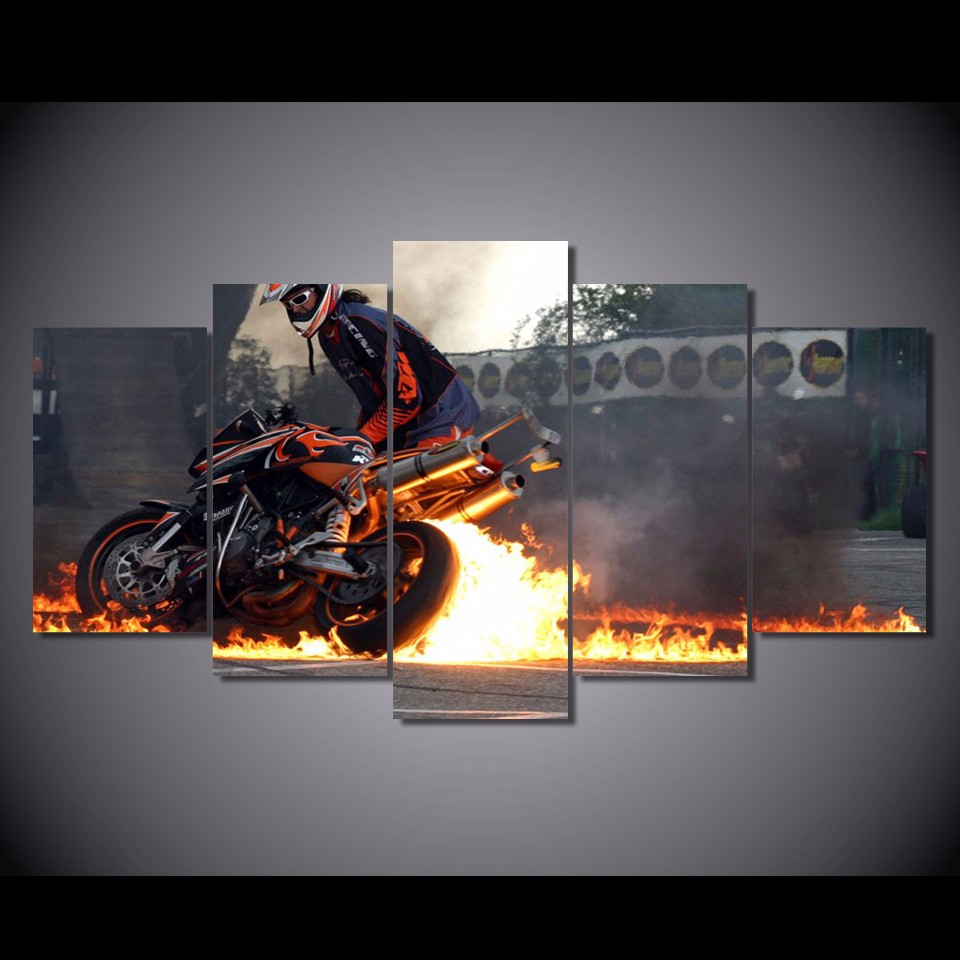 5 pièces/ensemble encadrée HD imprimé feu sur la moto photo mur Art toile chambre décor affiche toile abstraite peinture à l'huile