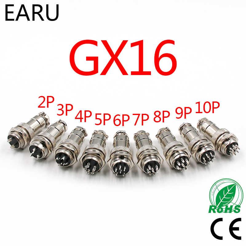 """1 set 5/8 """"GX16-2/3/4/5/6/7/8/9/10 Pin Laki-laki Perempuan 16mm Konektor Kawat Melingkar M16 GX16 Konektor Penerbangan Socket Plug Logam"""