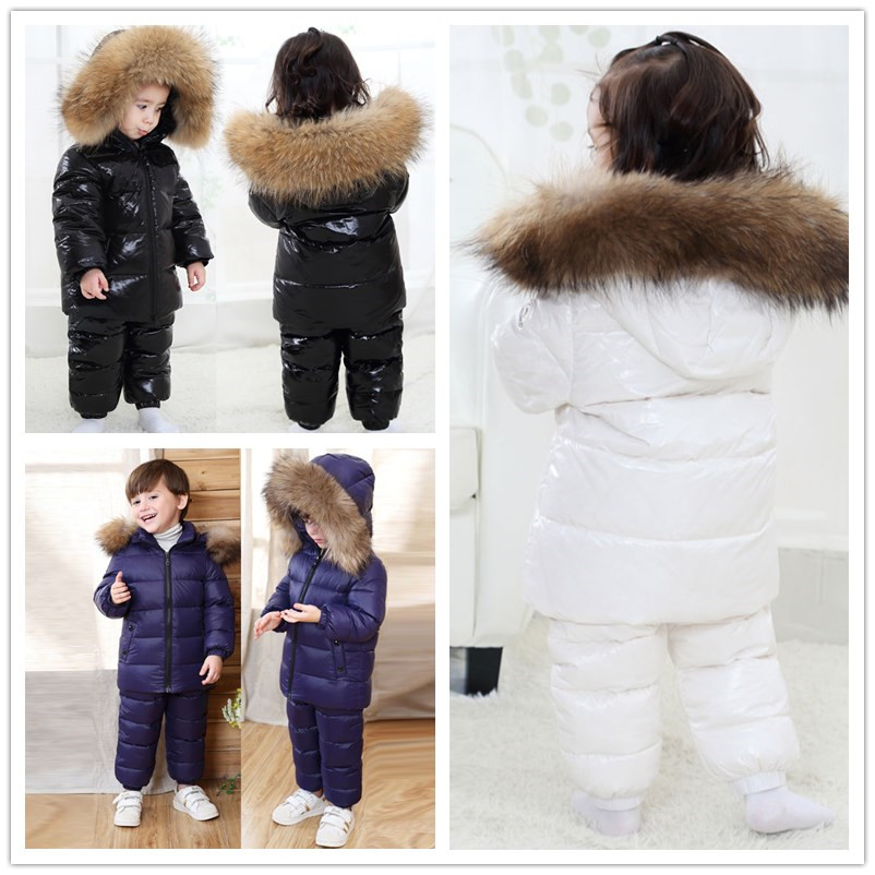 2020 Nieuwe Kinderkleding Set Rusland Winter Thicken Snowsuit 2 6y Jongens 90% Witte Eendendons Kleding Meisjes Winter Outfit jas - 4