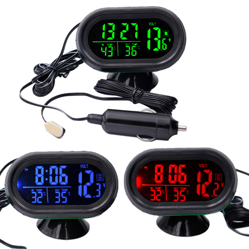 Digital Auto Car Thermometer Car Battery Voltmeter Voltage Meter Tester Monitor 12V / 24V Noctilucous Clock Freeze Alert 10% Of цена