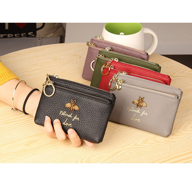 YaHe Coin Purses Women Genuine Leather Slim Coin Wallets Small Woman Key Card Holder Bags Lady Girls Mini Clutch Coin Pouch 2018 genuine leather coin purses women small change money bags pocket wallets female key chain holder case mini pouch card men wallet