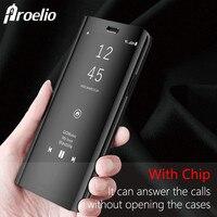 Proelio Luxus Flip Bezüge Leder Smart Chip Fall Für Samsung Galaxy hinweis 8 S6 S7 Rand S8 Plus Clear View Standspiegel fall