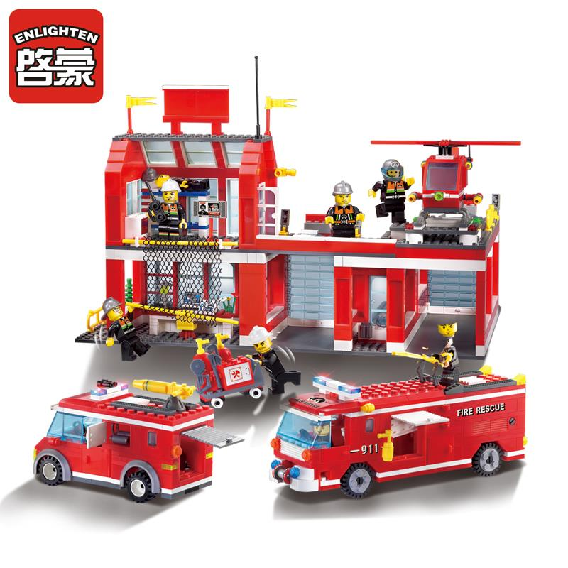 970Pcs Fire Rescue Fire Headquarter Helicopter Truck Fireman City Building Blocks DIY Toys for Children in Blocks from Toys Hobbies