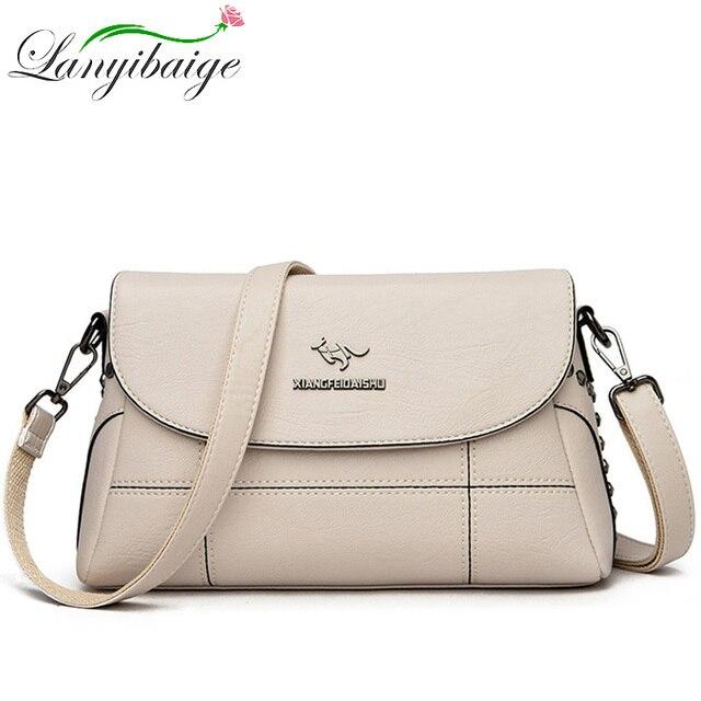 Luxury White Women Messenger Bags Female Leather Handbags Small Crossbody Bag For Women Shoulder Bags Famous Brand Designers New