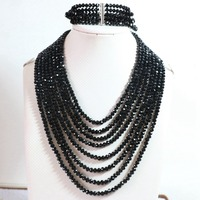 Original Design Black Crystal Glass 4 6mm Abacus Beads 8 Rows Chain Necklace 5 Rows Bracelet