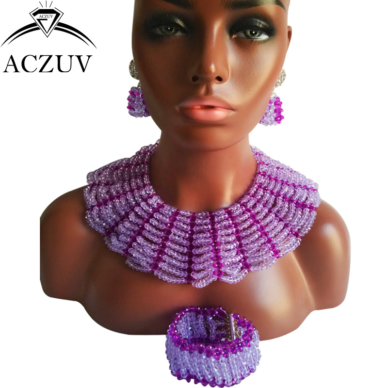 ACZUV Brand Lilac African Jewelry Set for Women Nigerian Wedding Beads Necklace and Earrings AS020 a suit of chic faux turquoise beads necklace and earrings for women