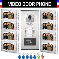 6 12 Units Apartment Intercom System Video Intercom Video Door Phone Kit 7 Monitor with 5 RFID keyfobs for 6/8/10/12 Household