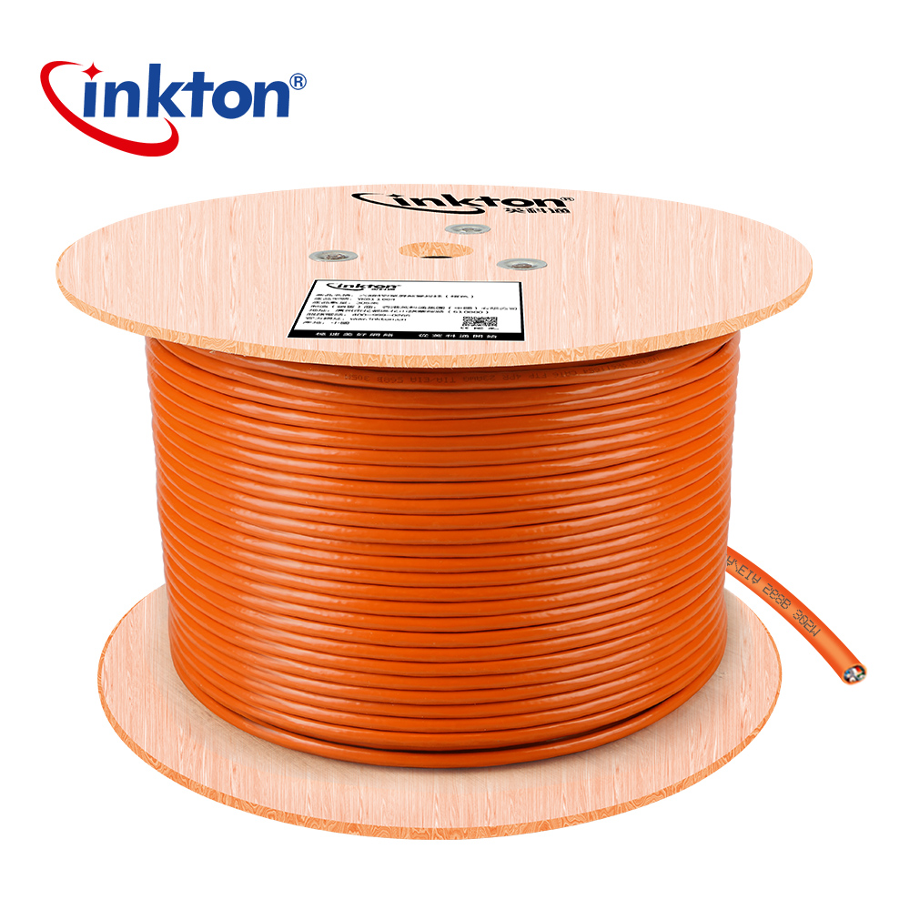 Inkton 50 m/100 m/305 m Cat6 câble Ethernet FTP Gigabit Ethernet Orange câble réseau 8 cœurs 23AWG noyau cuivre sans oxygène