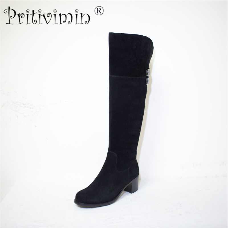 Pritivimin FN78 Ladies kide suede genuin leather winter women handmade warm real wool lined shoe girls over the knee high boots pritivimin fn81 winter warm women real wool fur lined shoes ladies genuine leather high boot girl fashion over the knee boots