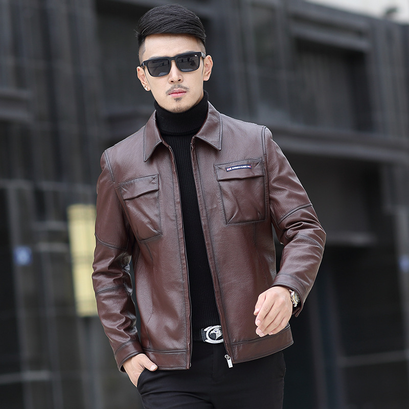 2017 New Arrival Brand Leather Jackets Men Genuine Leather Coat Sheepskin Slim Fit High Quality Warm