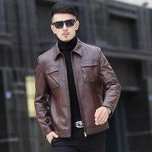 Новое поступление 2017 года бренд Кожаные куртки Для мужчин Пояса из натуральной кожи пальто овчины Slim Fit высокое качество теплая кожаная куртка