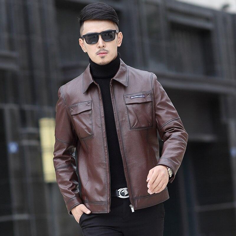 2017 Nuovo Arrivo di Marca Giacche In Pelle Cappotto di Pelle di Pecora Genuino Degli Uomini Slim Fit di Alta Qualità Giacca di Pelle Caldo