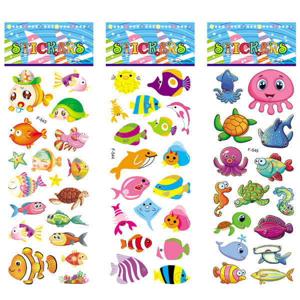 12 Sheets/pack Kids Stickers Toy Creative Cute Seabed Animals Fishes PVC Sticker for DIY Scrapbooking Diary Phone Stickers 3