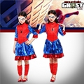 Girl Blue Spider Man Costume For Kid Spider Man Dress With Mask Halloween Costume Three Size
